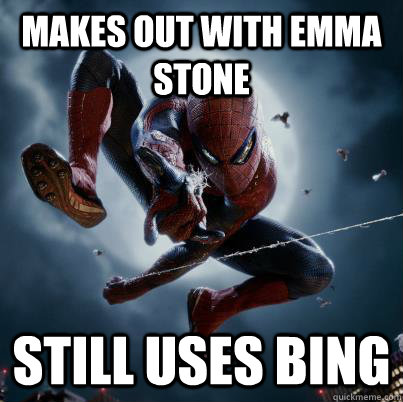 makes out with emma stone still uses bing - The Amazing Spider-man  Bing