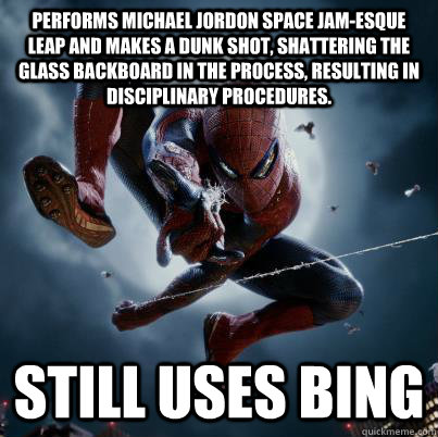 performs michael jordon space jamesque leap and makes a dun - The Amazing Spider-man  Bing