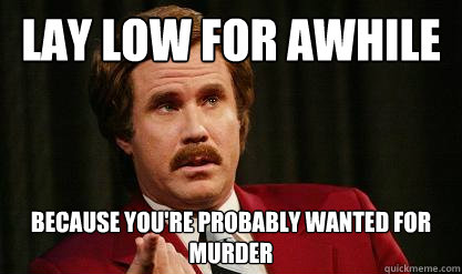 lay low for awhile because youre probably wanted for murder -