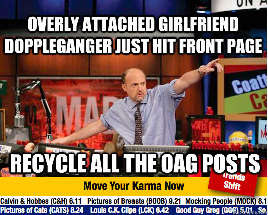 overly attached girlfriend doppleganger just hit front page  - Mad Karma with Jim Cramer