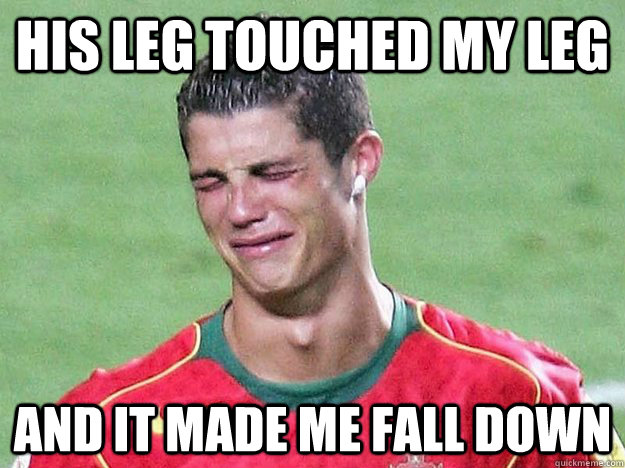 his leg touched my leg and it made me fall down - 