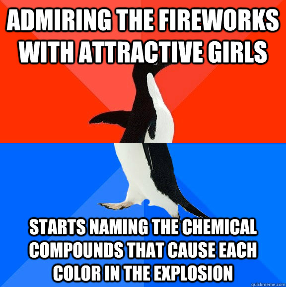 admiring the fireworks with attractive girls starts naming t - Socially Awesome Awkward Penguin