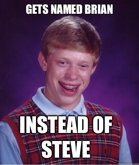 Gets named Brian Instead of steve - Bad Luck Brian