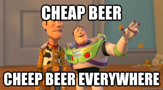 cheap beer cheep beer everywhere - Buzz Glitter
