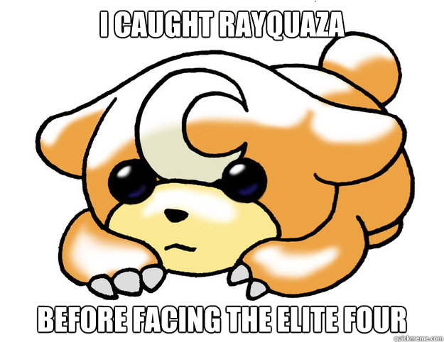 i caught rayquaza before facing the elite four  - Confession Teddiursa