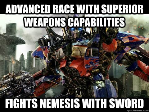 advanced race with superior weapons capabilities fights neme - Transformer