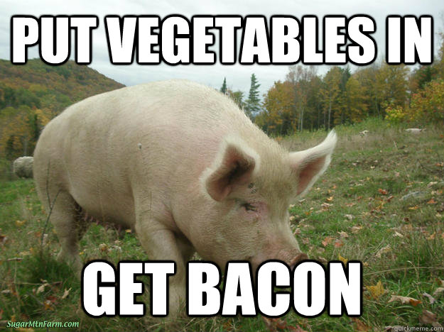 put vegetables in get bacon -