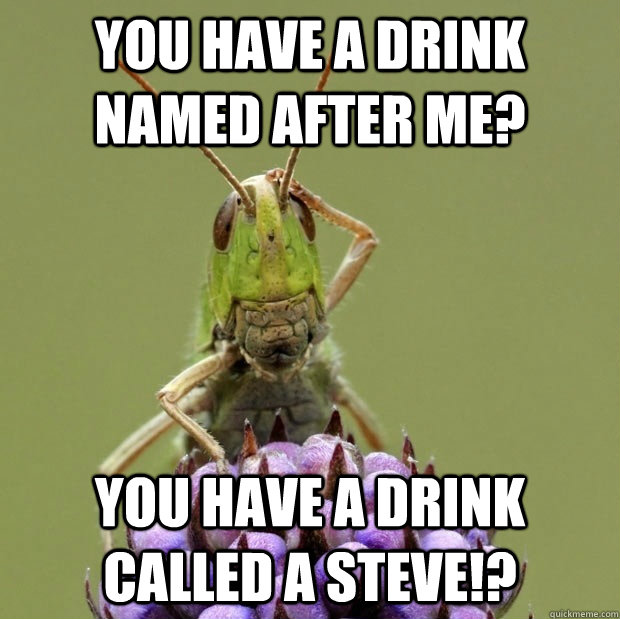 you have a drink named after me you have a drink called a s - Confused grasshopper