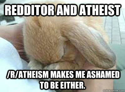 redditor and atheist ratheism makes me ashamed to be eith - Ashamed bunny