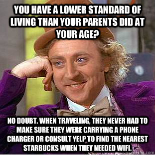 you have a lower standard of living than your parents did at - Creepy Wonka