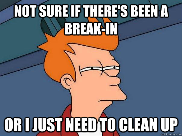 not sure if theres been a breakin or i just need to clean  - Futurama Fry