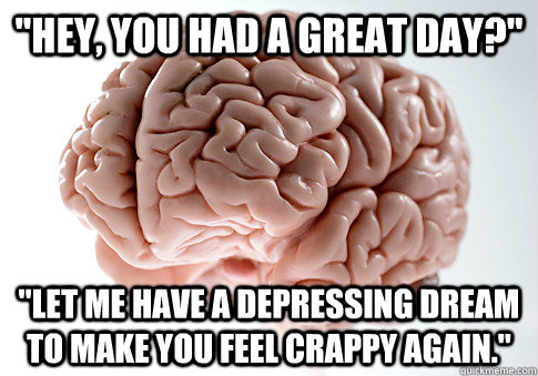 hey you had a great day let me have a depressing dream  - Scumbag Brain