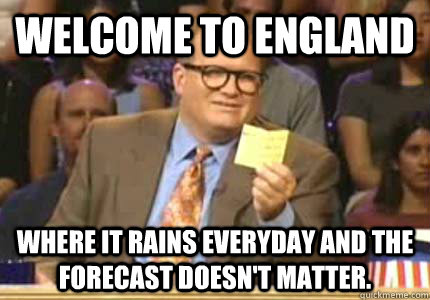 welcome to england where it rains everyday and the forecast  - Whose Line
