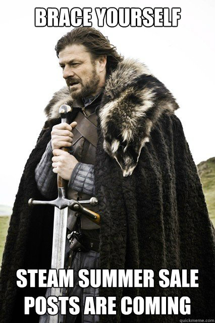brace yourself steam summer sale posts are coming - brace yourself