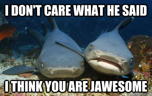 i dont care what he said i think you are jawesome - Compassionate Shark Friend