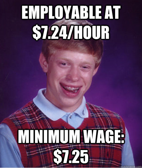 employable at 724hour minimum wage 725 - Bad Luck Brian