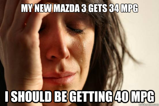 my new mazda 3 gets 34 mpg i should be getting 40 mpg - First World Problems