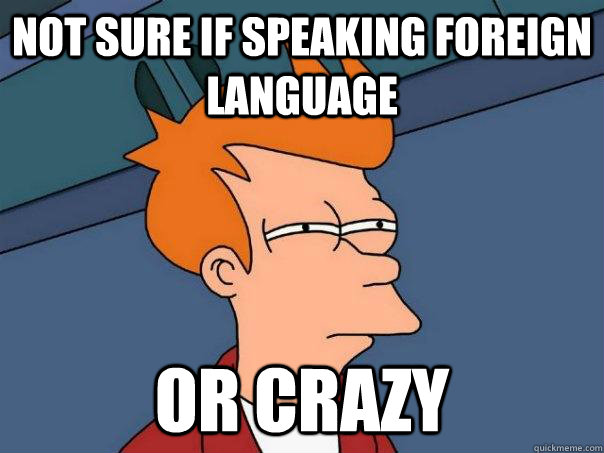 not sure if speaking foreign language or crazy - Futurama Fry