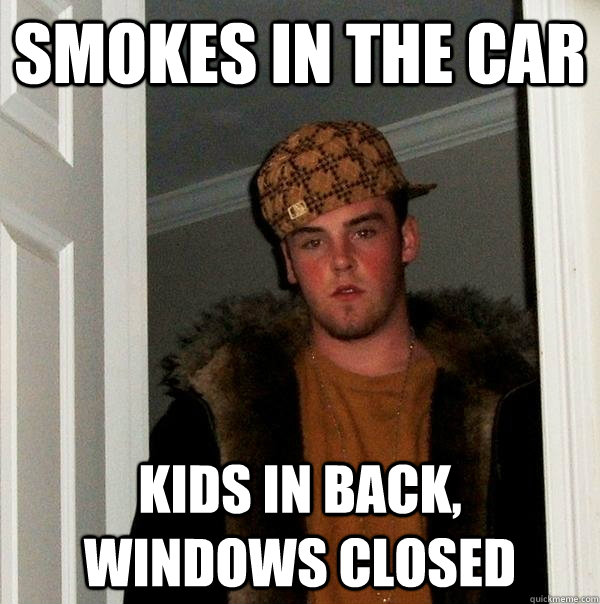 smokes in the car kids in back windows closed - Scumbag Steve