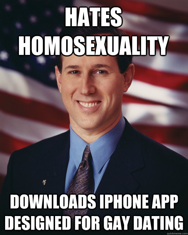 hates homosexuality downloads iphone app designed for gay da - Rick Santorum