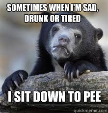 sometimes when im sad drunk or tired i sit down to pee - Confession bear