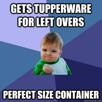 gets tupperware for left overs perfect size container - Success Kid