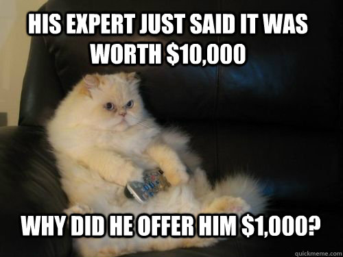 his expert just said it was worth 10000 why did he offer h - Disapproving TV Cat