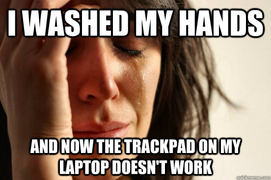 i washed my hands and now the trackpad on my laptop doesnt  - First World Problems