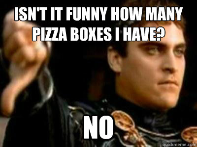 isnt it funny how many pizza boxes i have no - Downvoting Roman
