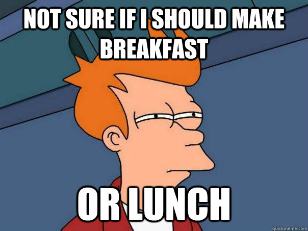 not sure if i should make breakfast or lunch - Futurama Fry