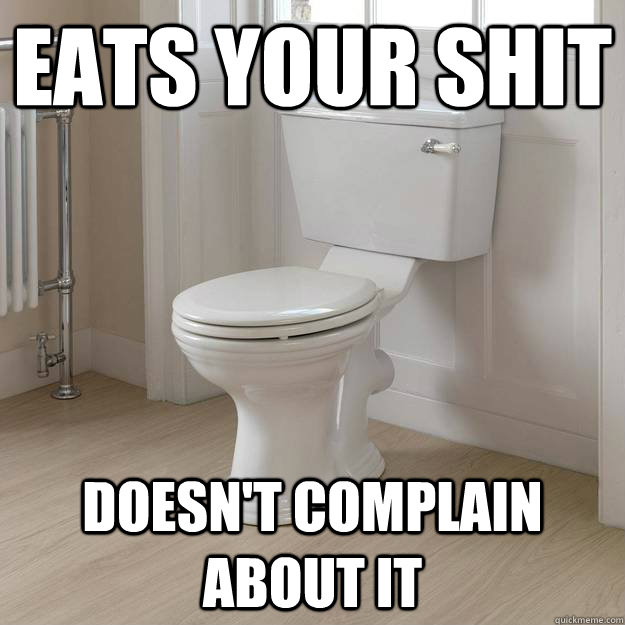 eats your shit doesnt complain about it - Good Guy Toilet