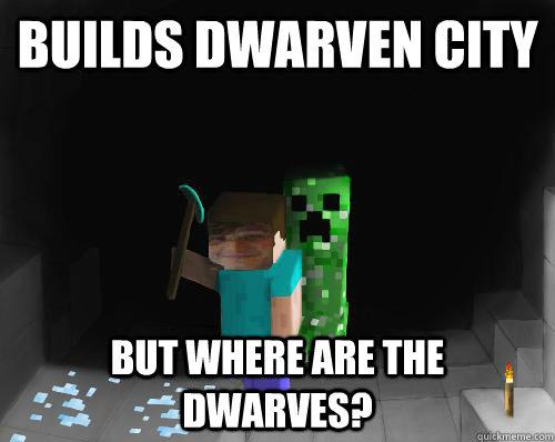 builds dwarven city but where are the dwarves minecraft spud. Black Bedroom Furniture Sets. Home Design Ideas