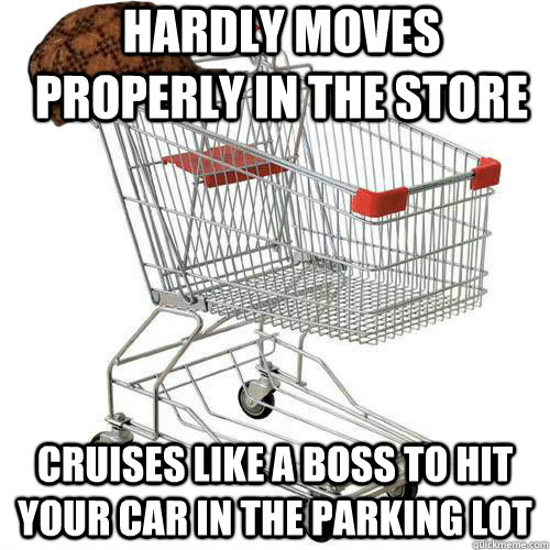 hardly moves properly in the store cruises like a boss to hi - Scumbag shopping cart