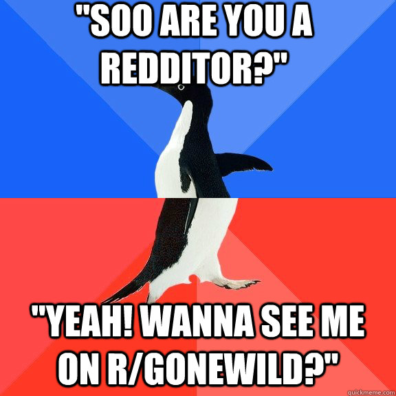soo are you a redditor yeah wanna see me on rgonewild - Socially Awkward Awesome Penguin