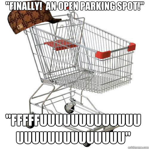 finally an open parking spot fffffuuuuuuuuuuuuuuuuuuuu - Scumbag shopping cart