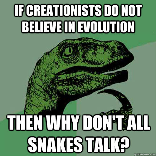 if creationists do not believe in evolution then why dont a - Philosoraptor