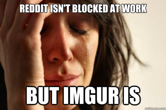 reddit isnt blocked at work but imgur is - First World Problems