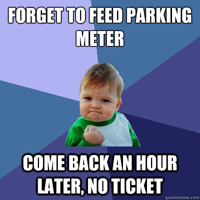 forget to feed parking meter come back an hour later no tic - Success Kid