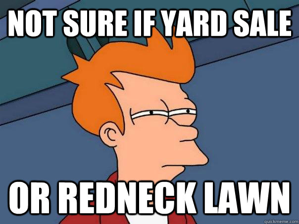 not sure if yard sale or redneck lawn - Futurama Fry