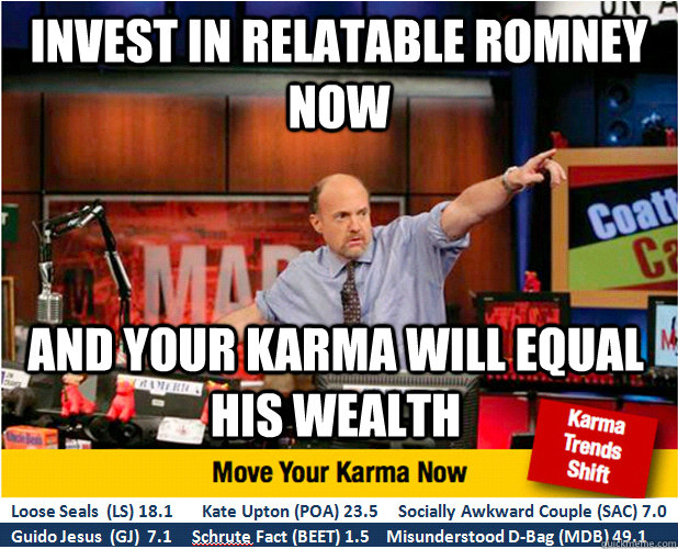 invest in relatable romney now and your karma will equal his - Jim Kramer with updated ticker