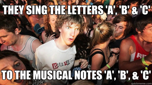 they sing the letters a b c to the musical notes a - Sudden Clarity Clarence