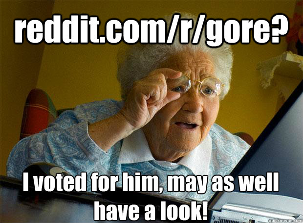 redditcomrgore i voted for him may as well have a look - Grandma finds the Internet