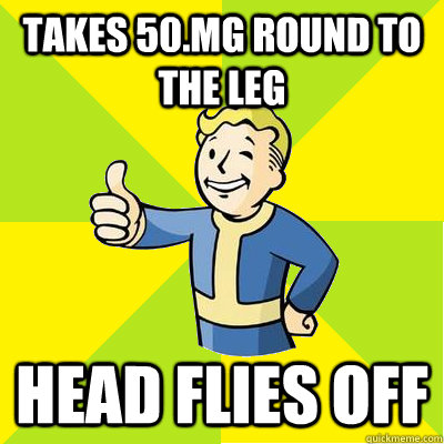 takes 50mg round to the leg head flies off - Fallout new vegas