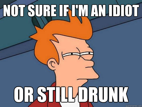not sure if im an idiot or still drunk - Futurama Fry