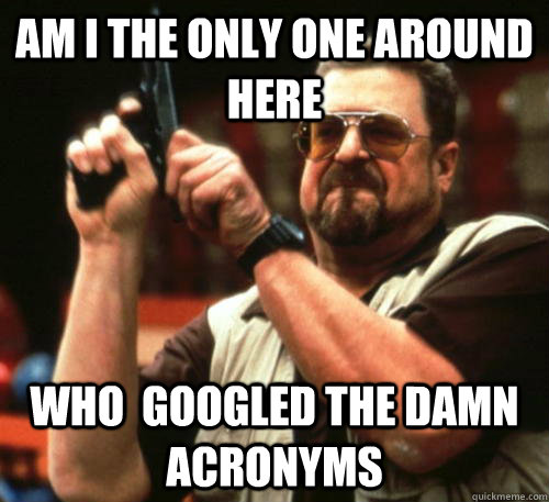 am i the only one around here who googled the damn acronyms - Am I The Only One Around Here