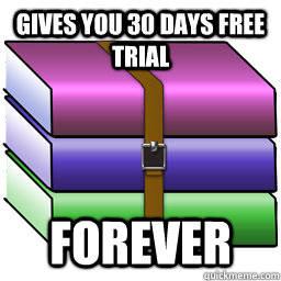 gives you 30 days free trial forever - Good Guy Winrar