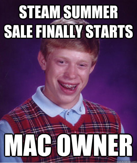 steam summer sale finally starts mac owner - Bad Luck Brian