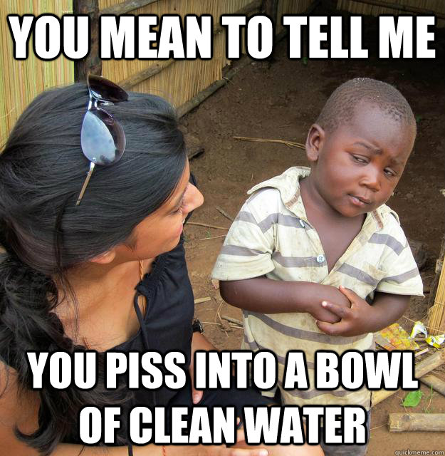 you mean to tell me you piss into a bowl of clean water - Skeptical Third World Child
