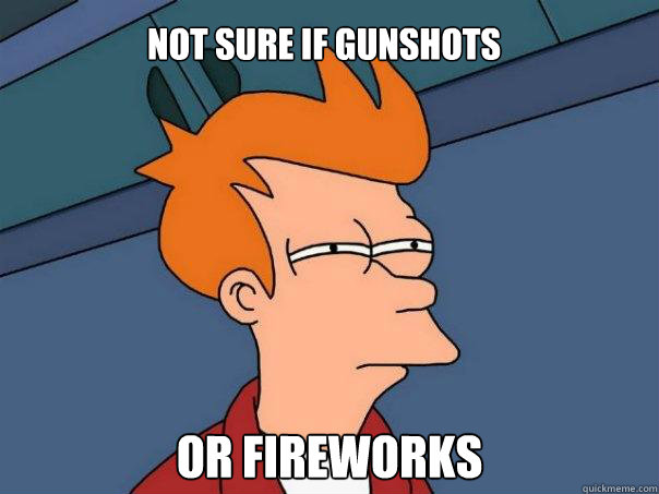 not sure if gunshots or fireworks - Futurama Fry