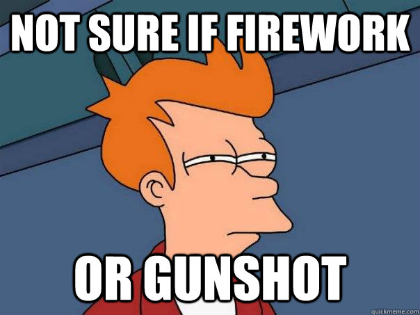 not sure if firework or gunshot - Futurama Fry